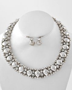 Women's Silver Tone Geometric Bead Necklace and Earring Set $18.99