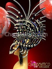 35802970 CHARISMATICO Black Mirror Accented And Crystal Studded Gothic Spiky Mask  Headdress Black Mirror, Headdress,