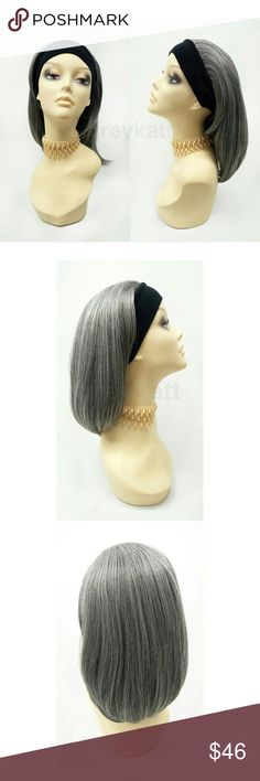 """Gray short straight headband wig This stylish wig features short and straight gray locks and a sewn-in black headband. Made with heat-resistant synthetic fibers which prevent loss of style even after washing and can be styled with heating tools such as curling irons and heated rollers.  Color: Salt and Pepper Gray (51) Length: 14"""" inches Circumference: Default at 21"""" with adjustable cap (max 22"""") Materials: Premium Heat Resistant Synthetic Fibers  Wig prices are firm. Accessories Hair…"""