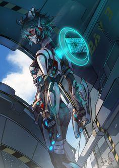 piu piu piu piu* An original artwork of a cyborg going to battle. Trying out mecha designs nowadays