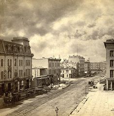 Downtown Milwaukee, 1871 Remarkably, many of these buildings still stand today on Wisconsin Avenue. Milwaukee Downtown, Milwaukee Road, Milwaukee Wisconsin, Milwaukee Skyline, Main Street America, Old Trains, Beautiful Buildings, Best Cities, Historical Photos
