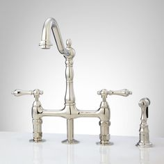 Bellevue Bridge Kitchen Faucet with Brass Sprayer - Lever Handles - Polished Nickel