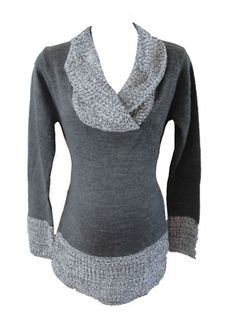 Maternity Sweater for FALL!  Sarah Sweater in Gray by Suspicious Lines Maternity - Maternity Clothing - Flybelly Maternity Clothing