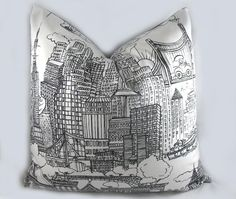 New York New York - Decorative Pillow Cushion Cover - Accent Pillow - Throw Pillow - Schumacher- Black White, City - 18 x 18 inch. $64.00, via Etsy.