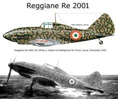 """Reggiane Re 2001 - """"1 Bianco"""" - Areonautica Mlitare Italiana (cobelligerante), Lecce, Dicembre 1943"""
