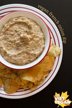 Vegan French Onion Dip | The Viet Vegan | It's not beautiful but it's oh so delicious. Perfect for dipping with plain, rippled chips!
