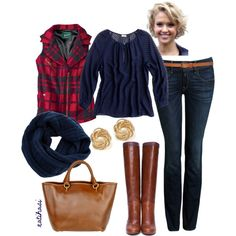 """""""Fall Outfit in Red, Brown and Dark Blue"""" by natihasi on Polyvore... super cute Woolrich vest."""