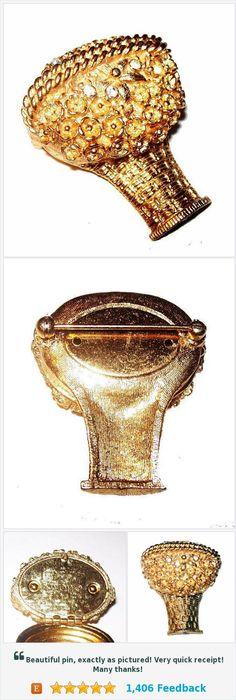 "AVON Perfume Brooch Locket Signed Rhinestones Gold Metal 1 3/4"" Vintage https://www.etsy.com/brightgemstreasures/listing/548156589/avon-perfume-brooch-locket-signed?ref=listing-shop-header-2"