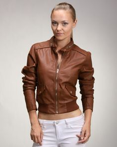 Deanne says - You can never go wrong with an edgy-chic brown leather jacket. It a must-have piece that can be worn for most of the year. It's very versatile, and can be paired with almost anything. You can wear this jacket over a MAXI dress or jeans. Edgy Chic, Faux Leather Jackets, Camel, Brown Leather, Zipper, Night, Spring, Jeans, Classic