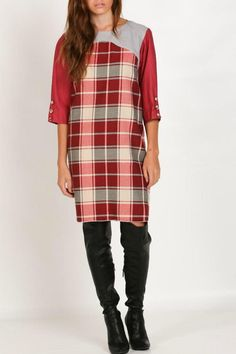 """This red and gray plaid dress, the eyes will follow! Woven poly fabric boasts a brushed plaid print in red and gray. A scoop gray neckline meets a full-length plaid and ends at the slightly flared hem. The 3/4 sleeves solid red have button plaid cuffs. Unlined.    Measures: 35"""" shoulder to hem on Size M   Xadrez Dress by ella fashion. Clothing - Dresses - Printed Michigan"""