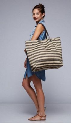 Love Stitch X-Large Oversized Black Striped Jute Tote with Vegan Leather Straps #LoveStitch
