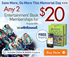 COUPONS $$ Purchase 2 Entertainment Books for only $20 + FREE Shipping!
