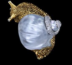 Gold Snail Brooch w pearl and diamond--