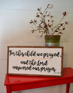 for this child we prayed handpainted wood sign by blissfulpickens