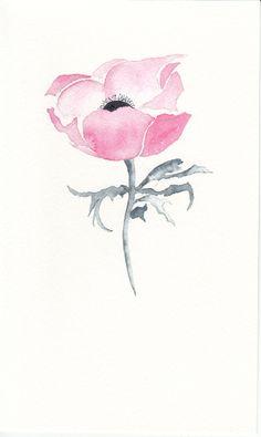 Aquarelle Art cartes rose anémone aquarelle par cardsbymormorjan