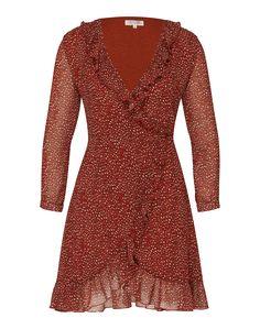 Dress von WYLDR @aboutyoude. Das Wickelkleid mit einem allover Leomuster beweist seinen eleganten Flair durch die Rüschendetails am tiefen V-Ausschnitt und am Saum. Eine taillierte Form rundet den individuellen Look ab.
