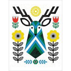 Folk Deer- Affiche d'art