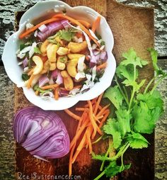 Cashew Cabbage Salad (Gluten/Grain/Dairy/Sugar Free)  4 cups of shredded cabbage 1 cup of shredded carrots 1/2 cup of sliced red onion 1/2 cup or more of cashews (roasted or raw) 1/2 cup of chopped cilantro Dressing 1/2 cup mild flavored oil 1/2 cup apple cider vinegar Stevia to taste (2-3 grams) A dash of lime salt & pepper to taste
