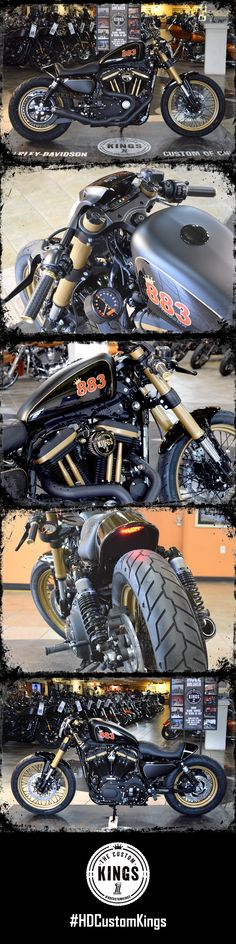Barb's Harley-Davidson went with a cafe style Sportster that is edgy with modern flare. The aggressive styling of a V-Rod inverted front end with clip-on bars and an in-house built tail section with a custom built seat completed the look of their build. | Harley-Davidson #HDCustomKings
