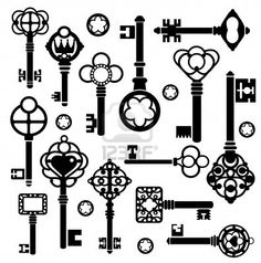 Ancient Key Set Silhouettes Royalty Free Stock Vector Art