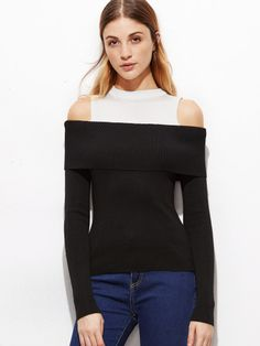 Shop Contrast Open Shoulder Jersey Sweater online. SheIn offers Contrast Open Shoulder Jersey Sweater & more to fit your fashionable needs.