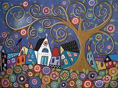 Folk Art Abstract Painting - Swirl Tree Village by Karla Gerard