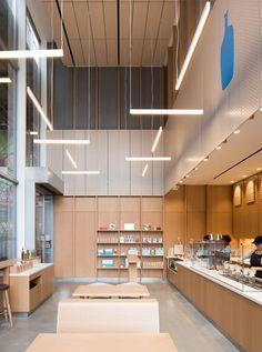 Blue Bottle, World Trade Center Nosara, Cafe Restaurant, Restaurant Design, Study Cafe, Blue Bottle Coffee, Cafe Concept, Counter Design, Small Office, Office Den
