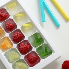 Ice Ice Baby! Don't let the summer heat beat you. Drop one of these fruit and herb infused ice cubes into a tall glass of water and relax!
