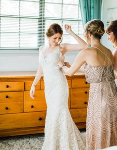 Darling Florida Wedding At A Family Farm Lush With Spanish Moss: A lace dress paired with a scalloped neckline looks absolutely stunning on this bride!