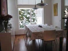 Marimekko Lumimarja in a Finnish dining space. #marimekko #finland #home