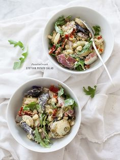 Stetson Potato Salad - not your average potato salad, this is jazzed up with sundried tomatoes pesto and colorful potato skins. Potato Recipes, Veggie Recipes, Healthy Recipes, Potato Pasta, Potato Salad, Best Salad Recipes, Side Dishes For Bbq, Pescatarian Recipes, Summer Salads