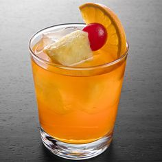 Bermuda Rum Swizzle     4 oz Gosling's Black Seal Rum     4 oz Gosling's Gold Rum     8 oz Pineapple juice     8 oz Orange juice     .75 oz Grenadine     6 dashes Angostura Bitters Garnish: Orange slice, pineapple cube and cherry