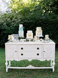 Danielle, White Buffet for sweets station, cake table, welcome table, wedding decor with vintage accents | Lovegood Wedding & Event Rentals