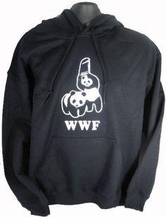Hoodie WWF Funny Panda Bear Shirt Wrestling Humor Black: Clothing - women's M