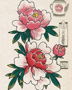 Japanese Flower Tattoo, Japanese Tattoo Designs, Japanese Flowers, Flower Tattoo Designs, Japanese Art, Traditional Tattoo Flowers, Traditional Japanese Tattoos, Flor Oriental Tattoo, Tatto Floral