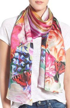 Ted Baker London 'Floral Swirl' Long Silk Scarf