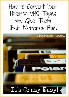 to DVD Transfer: Give Your Parents Back Their Memories Such a smart gift idea for your parents, who likely have lots of home movies on VHS!Such a smart gift idea for your parents, who likely have lots of home movies on VHS! Cinema Tv, Vhs To Dvd, Home Movies, Vhs Tapes, Things To Know, Family History, Good To Know, In This World, Just In Case