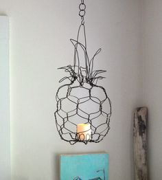 Hanging Wire Pineapple Lantern | Inspired by baby pineapples, this wire sculpture looks like a ... | Landscape Lanterns & Torches
