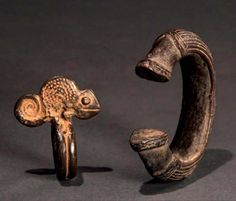 Burkina Faso | Bracelet and a ring from the Lobi people; bronze alloy | Est. 120…
