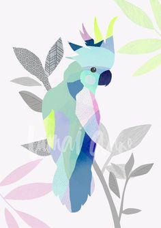 Cockatoo wall art by Australian artist Lamai Anne. Bring the beautiful Australian outdoors into your home with these beautiful modern bird art prints. Australian Animals, Australian Artists, Guache, Bird Drawings, Arte Pop, Art Abstrait, Cockatoo, Collage, Mosaic Art