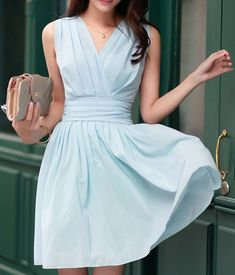 Light Blue Plain Pleated Cross-Over Neckline Chiffon Dress