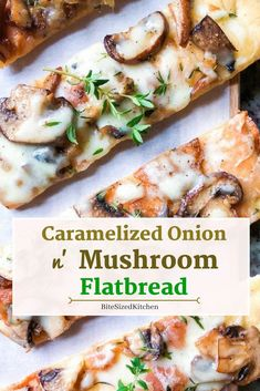 Caramelized Onion and Mushroom Flatbread Pizza This is a healthy easy vegetarian flatbread recipe A perfect appetizer recipe with mushrooms and caramelized onions Great for a party or crowd Flatbread Appetizers, Healthy Appetizers, Appetizers For Party, Simple Appetizers, Crowd Appetizers, Flatbread Ideas, Vegetable Appetizers, Best Appetizer Recipes, Chicken Appetizers