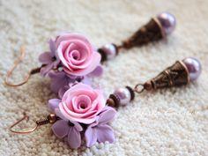 Earrings handmade flowers made of polymer clay