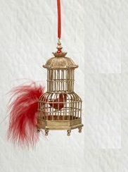 Asian Fusion Rounded Birdcage with Red Bird and Feather Christmas Ornament 4""