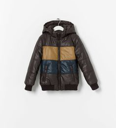 QUILTED COAT WITH FAUX LEATHER STRIPES from Zara