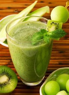 5 Delicious, Healthy and Easy-to-Make Dairy-Free Smoothie Recipes | Gaiam Life - Green Smoothie:   1 cup green grapes  1 large pear or green apple, unpeeled, cut in chunks  3 ripe kiwis, peeled  1 cup chunks honeydew melon  1 cup white grape juice or natural apple cider  A few leaves fresh mint (optional)  Mix all ingredients in the blender a full minute at high speed until smooth and frothy.