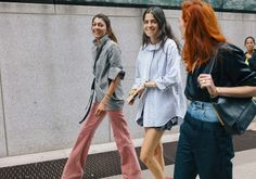 JACKET SLEEVES Ramya Giangola in a Rosie Assoulin jacket and Céline pants, Leandra Medine, and Taylor Tomasi Hill