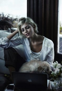 Home Office Heaven. Anja Rubik for Harper's Bazaar February 2009. Photographer: Peter Lindbergh.