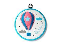 Hot Air Balloon nursery - Baby Name - Personalised Baby Wall Art - Felt Hot Air Ballon - Personalized Hoop Art - Nursery Decor - Baby Gift by FeltBerryUK on Etsy https://www.etsy.com/listing/286074271/hot-air-balloon-nursery-baby-name