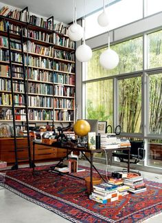 Home Library Design, Home Office Design, Cozy Home Library, Home Library Rooms, Small Home Libraries, Modern Library, Library Bedroom, Dream Library, Home Music Rooms